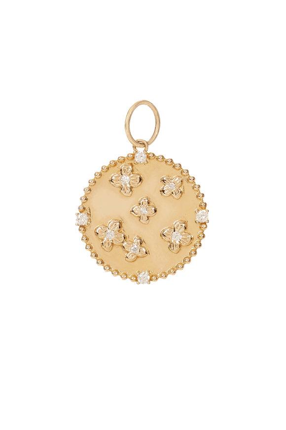 Kai Linz 14K Yellow Gold Floral Diamond Disc Charm