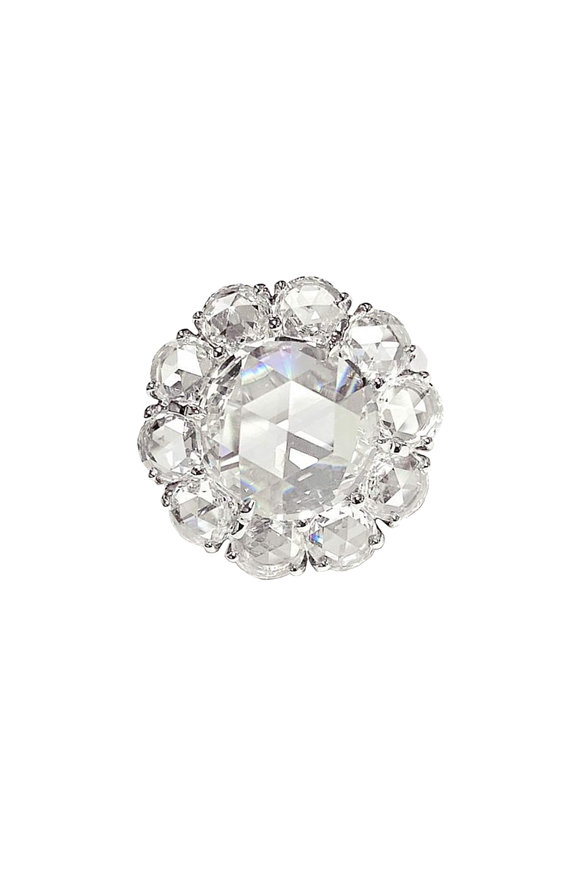 Bayco Platinum Diamond Flower Cocktail Ring