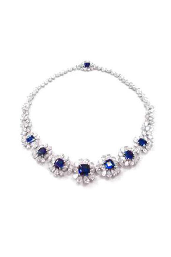 Bayco Platinum Diamond & Sapphire Necklace