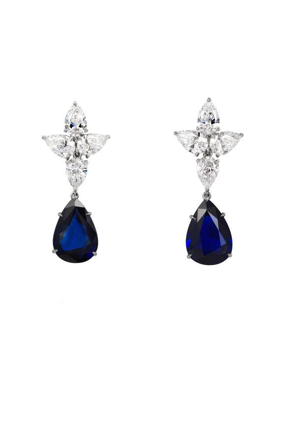 Bayco Platinum Diamond & Sapphire Earrings