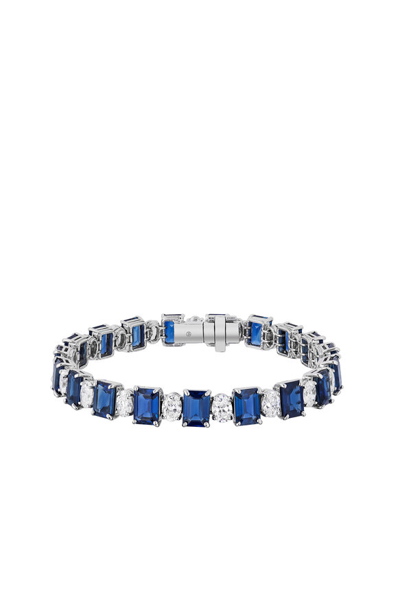 Bayco Platinum Diamond & Sapphire Bracelet