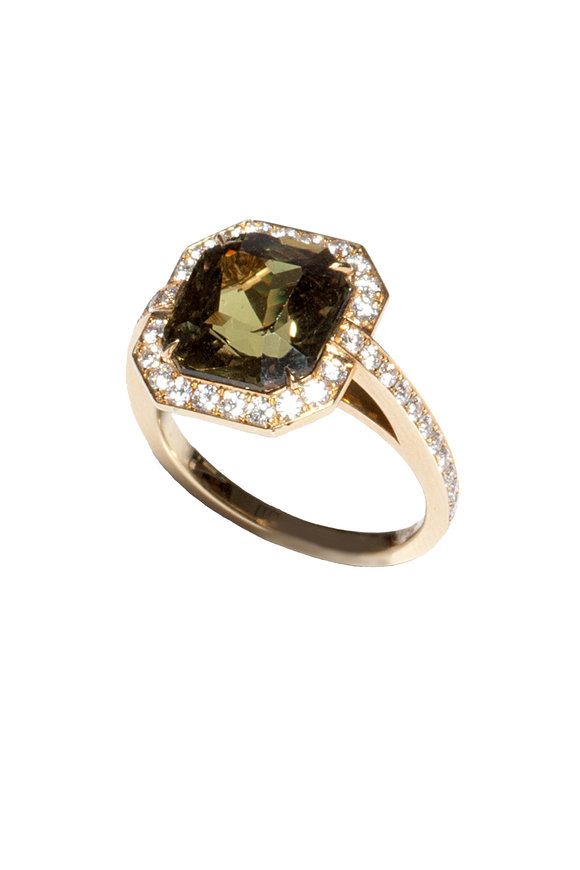 Bayco 18K Yellow Gold Green Sapphire Cocktail Ring