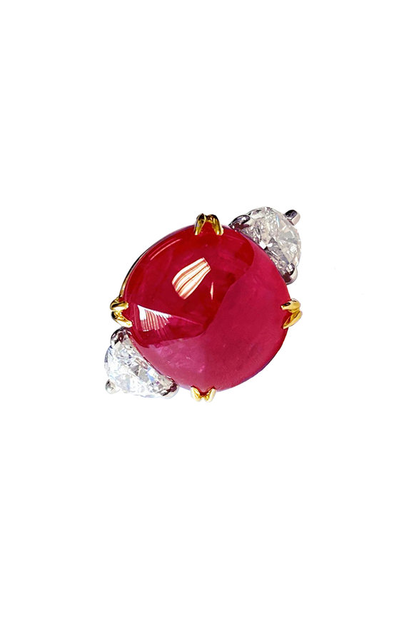Bayco Platinum Sugarloaf Burma Ruby Ring