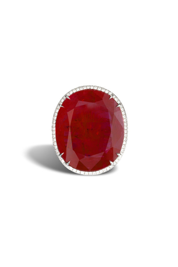 Bayco Platinum Ruby & Diamond Ring