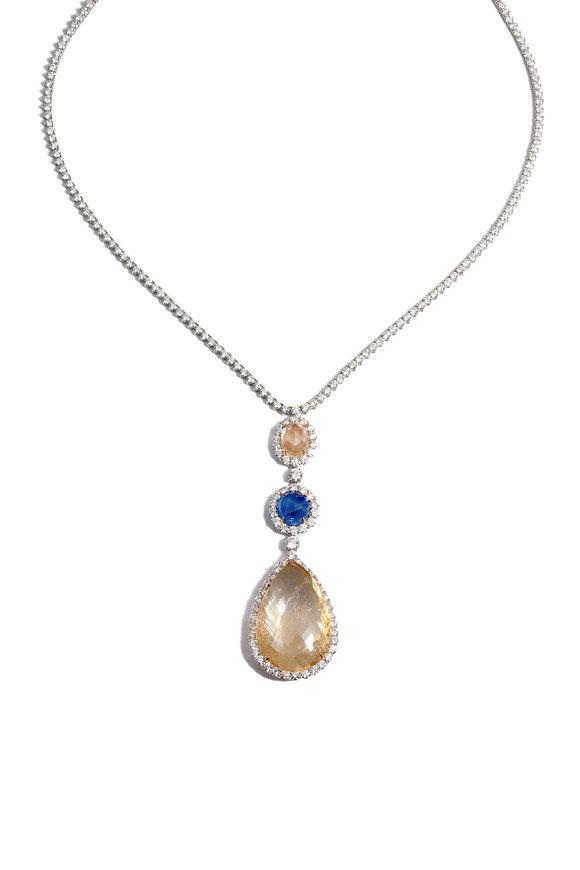 Bayco Platinum Briolette Sapphire Necklace