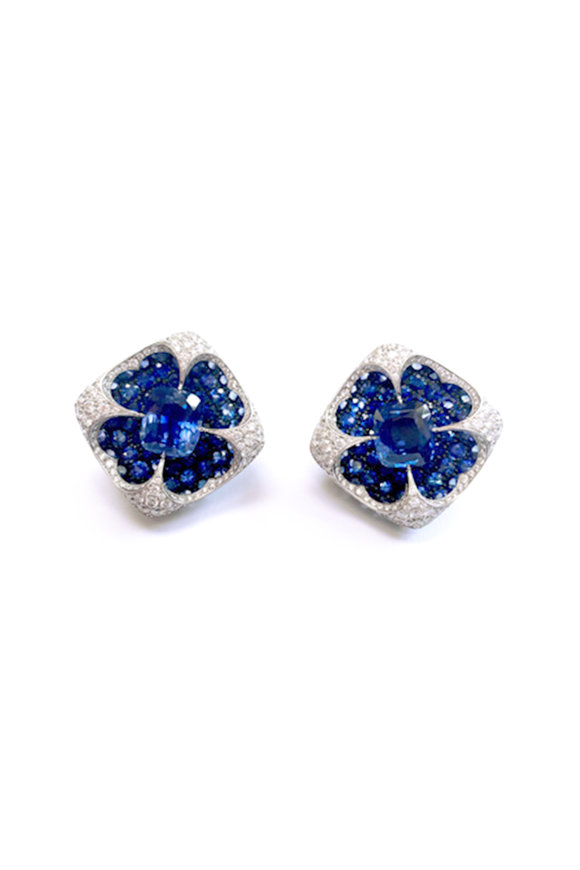 Bayco Platinum Sapphire & Diamond Earrings