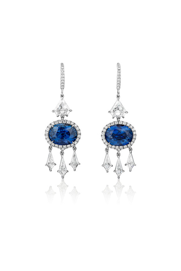 Bayco Platinum Sapphire & Diamond Drop Earrings
