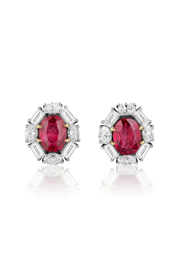 Bayco Platinum Burma Oval Ruby Earrings