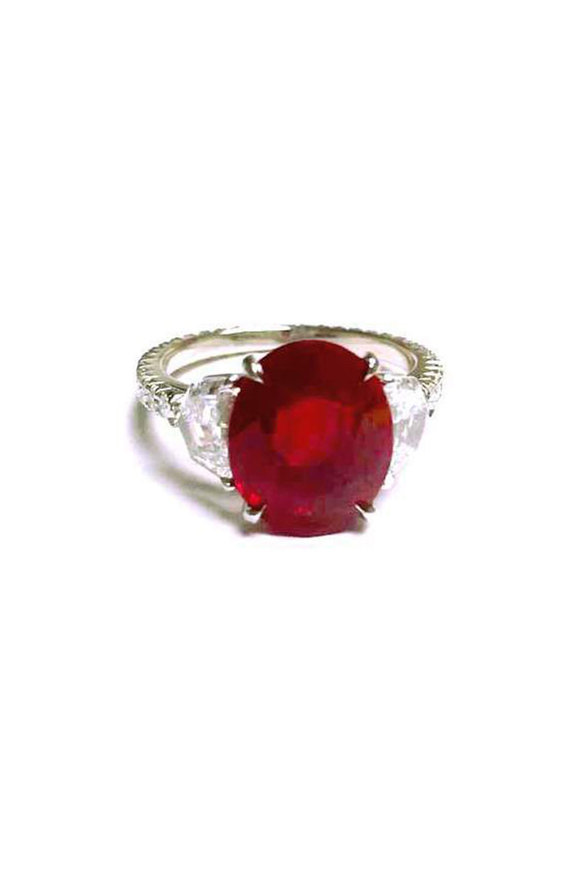 Bayco Platinum Pigeon Blood Ruby Ring