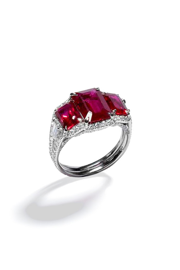 Bayco Platinum Pigeons Blood Ruby Ring