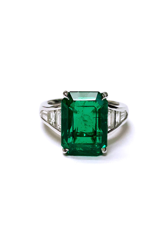 Bayco Platinum Emerald & Diamond Cocktail Ring