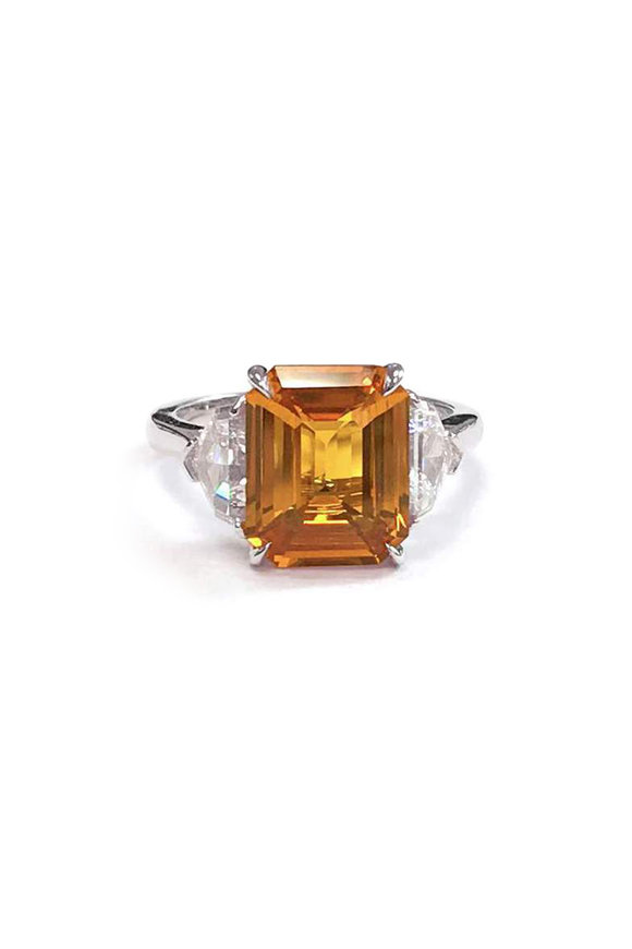 Bayco Platinum Orange  Sapphire & Diamond Cocktail Ring
