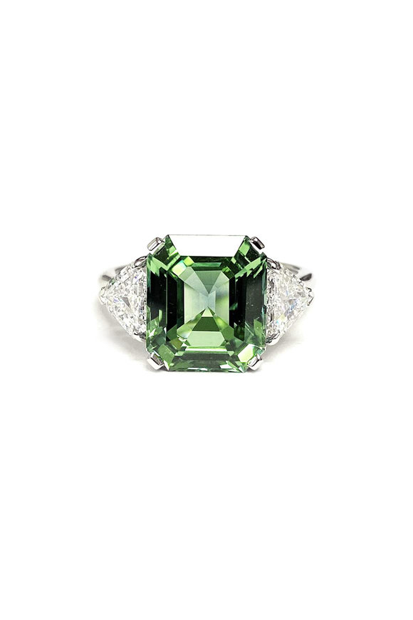 Bayco Platinum Green Sapphire & Diamond Cocktail Ring