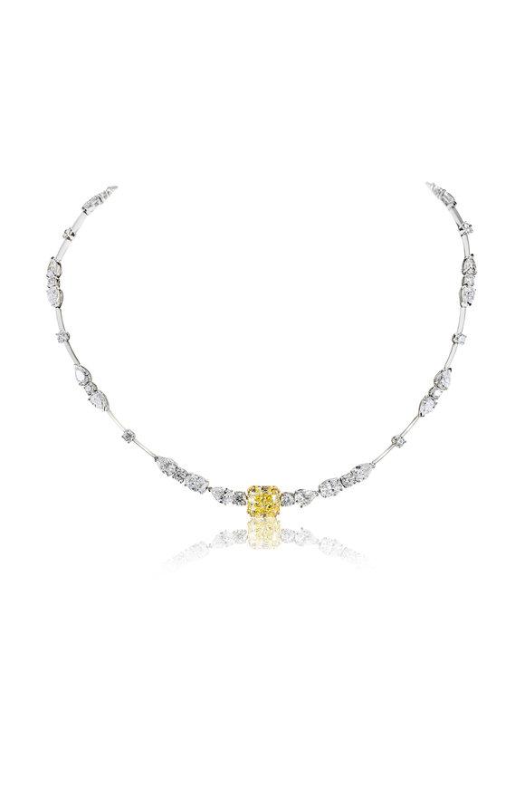 Etho Maria 18K White Gold Yellow & White Diamond Necklace
