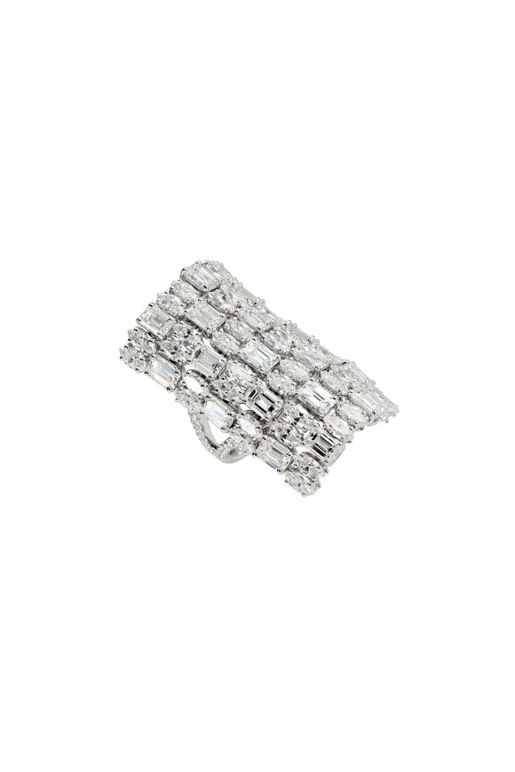 Etho Maria 18K White Gold Diamond Long Finger Ring