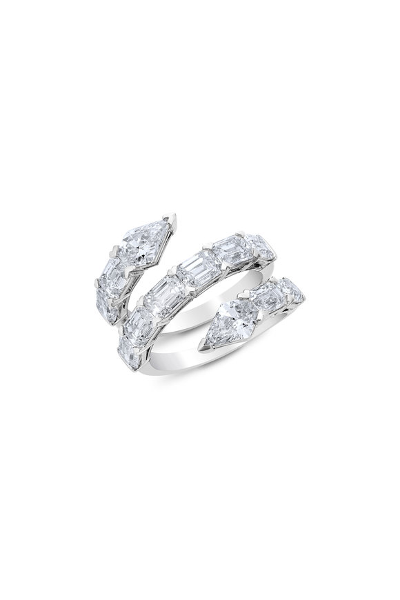 Etho Maria 18K White Gold Diamond Bypass Ring