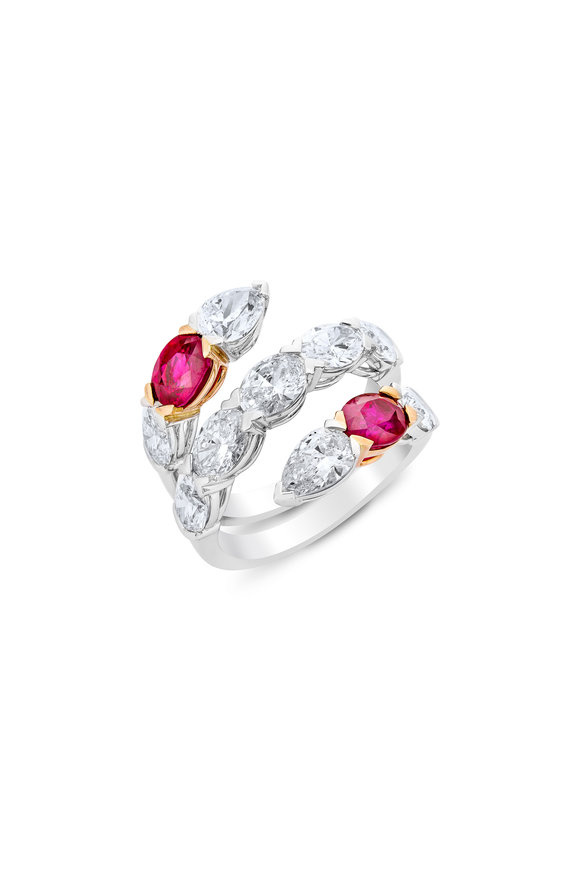 Etho Maria 18K White Gold Diamond & Ruby Bypass Ring