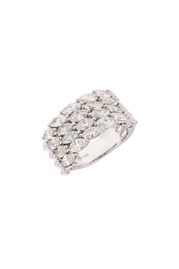 Etho Maria 18K White Gold Four Row Diamond Ring