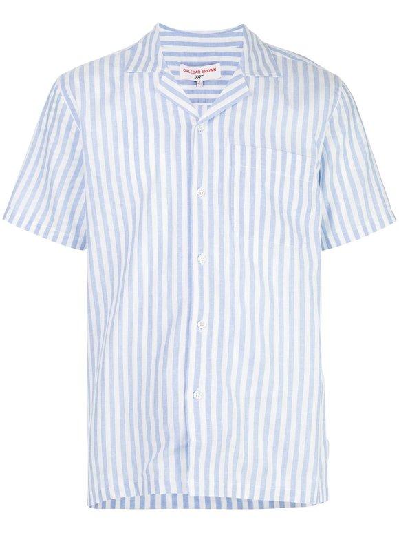Orlebar Brown Thunderball Blue & White Striped Shirt
