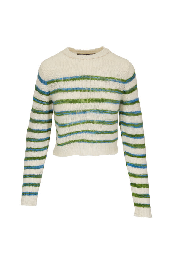 The Elder Statesman Ivory Multicolor Picasso Striped Cropped Sweater