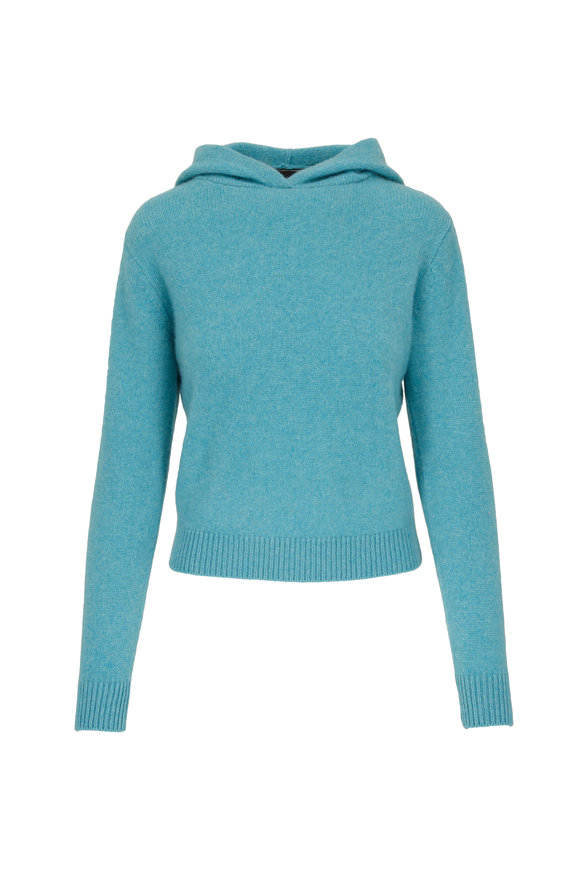 The Elder Statesman Aqua Heavyweight Cashmere Cropped Hoodie