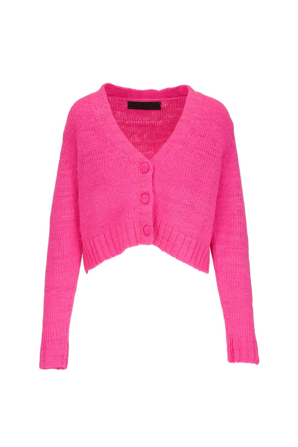 The Elder Statesman Hot Pink Cashmere Knit Cropped Cardigan