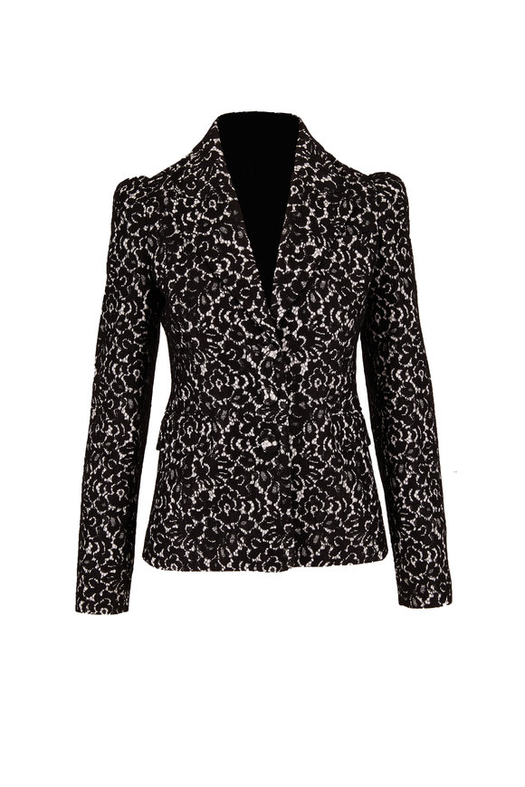 Michael Kors Collection Black Bonded Lace Puff-Sleeve Jacket