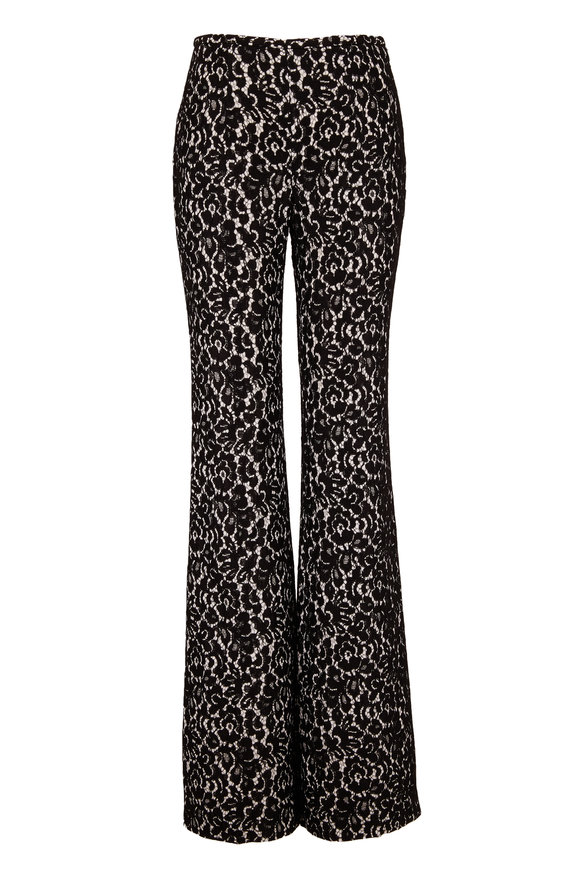 Michael Kors Collection Brooke Black Bonded Lace Flare Pant