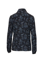 Michael Kors Collection - Black & Blue Crepe De Chine Western Paisley Blouse