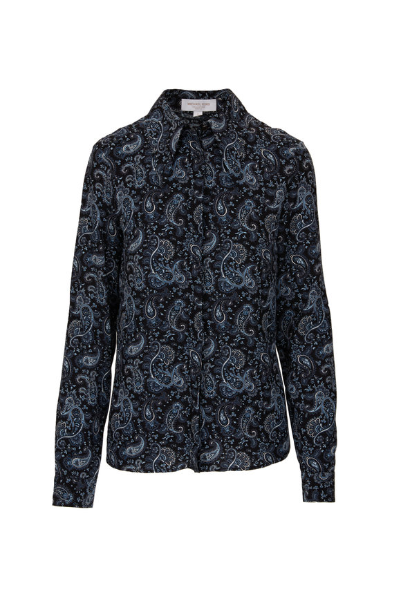 Michael Kors Collection Black & Blue Crepe De Chine Western Paisley Blouse