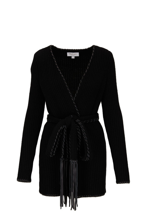 Michael Kors Collection Black Leather Fringed Whipstich Belted Cardigan