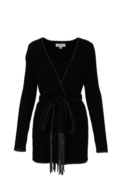 Michael Kors Collection - Black Leather Fringed Whipstich Belted Cardigan
