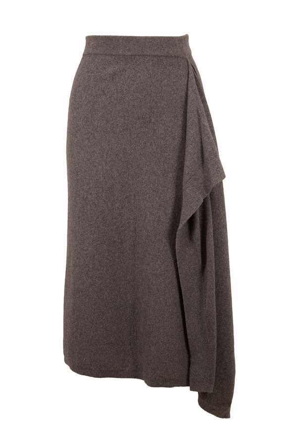 Michael Kors Collection Banker Gray Cashmere Scarf Skirt