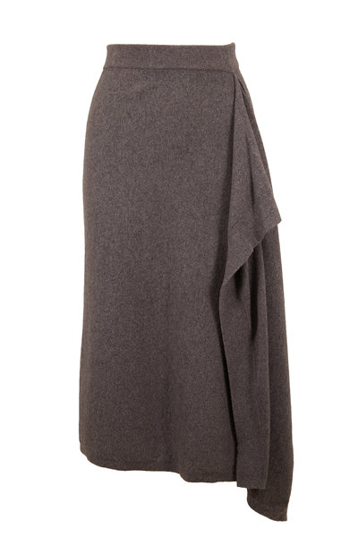 Michael Kors Collection - Banker Gray Cashmere Scarf Skirt