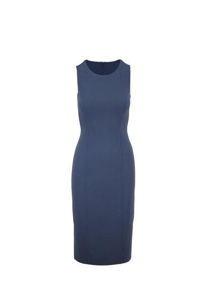 Michael Kors Collection - Storm Blue Bouclé Scoopneck Sheath Dress