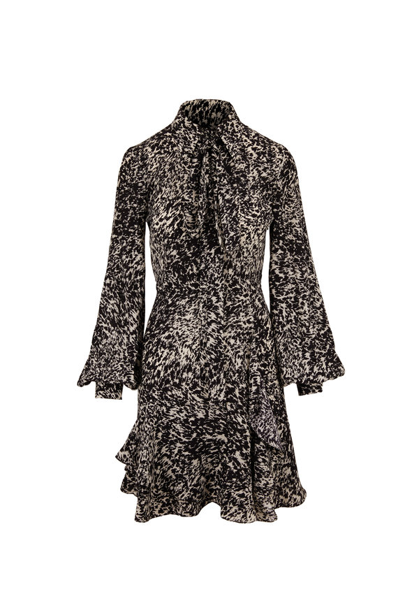Michael Kors Collection Black Speckled Pony Crepe De Chine Tiered Dress