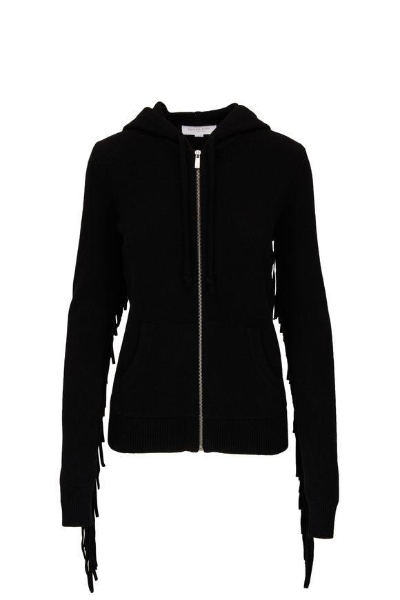 Michael Kors Collection Black Cashmere & Leather Fringed Zip Hoodie