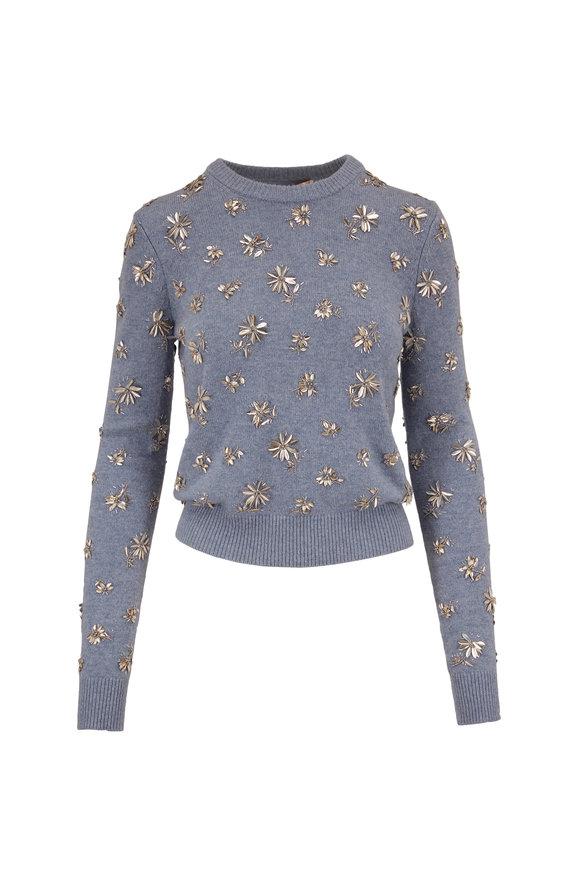 Michael Kors Collection Stream Melange Cashmere Floral Embellished Sweater