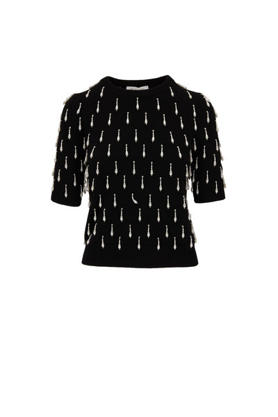Michael Kors Collection - Black Cashmere Pearl Embellished Sweater