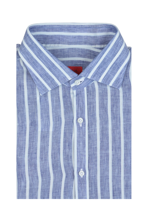 Isaia Blue & White Stripe Linen Sport Shirt