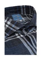 Barba - Navy Blue Plaid Linen Blend Sport Shirt