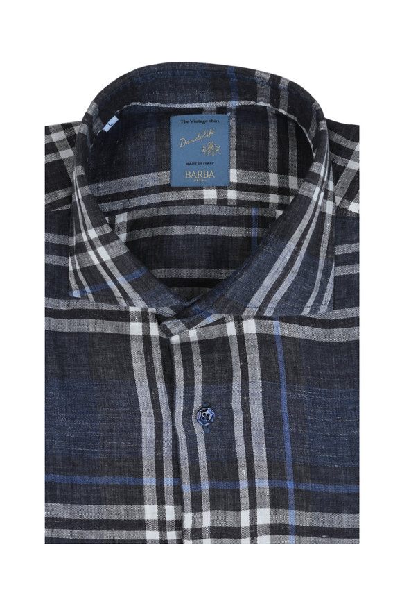 Barba Navy Blue Plaid Linen Blend Sport Shirt