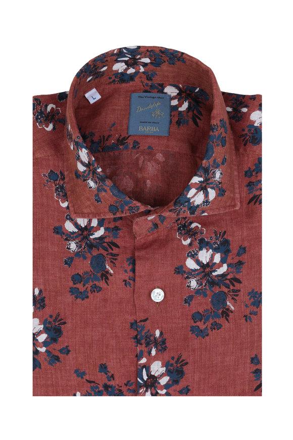 Barba Rust & Blue Floral Linen Sport Shirt