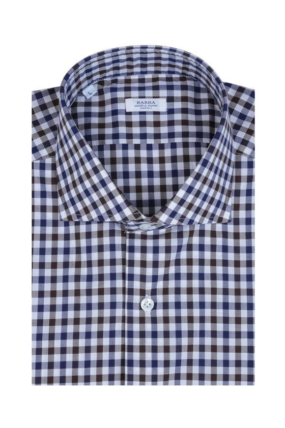 Barba Blue & Brown Check Sport Shirt