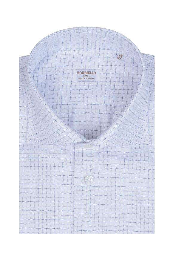 Borriello Blue & White Grid Print Sport Shirt