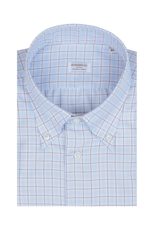 Borriello Blue & Brown Check Dress Shirt