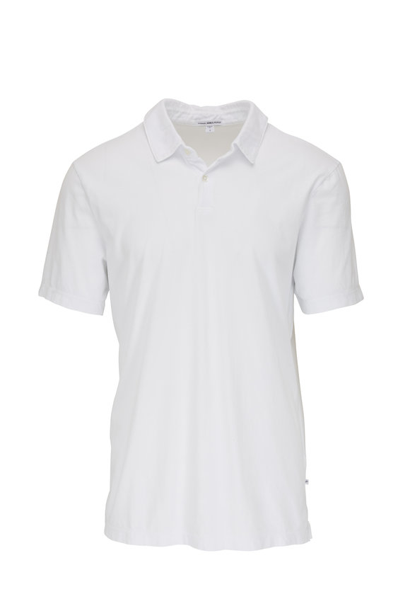James Perse White Jersey Short Sleeve Polo