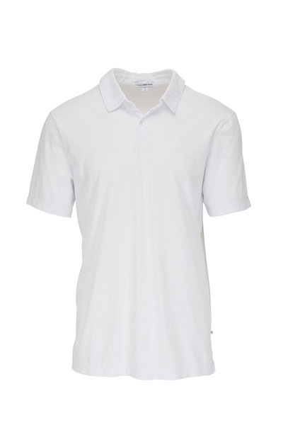 James Perse - White Jersey Short Sleeve Polo