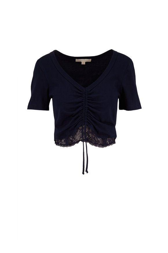 Jonathan Simkhai Midnight Lace Hem Ruched Crop Top