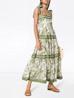 Zimmermann - Empire Khaki Palm Leaf Print Tie Shoulder Dress